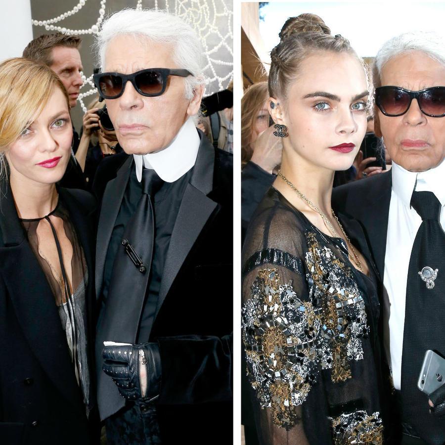 Karl Lagerfeld con Diane Kruger, Vanessa Paradis y Cara Delevingne