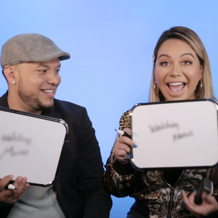 Chiquis Rivera and Lorenzo Méndez playing newlywed game on Latinx now!