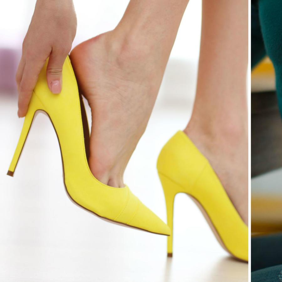 Mujer usando zapatos de tacón