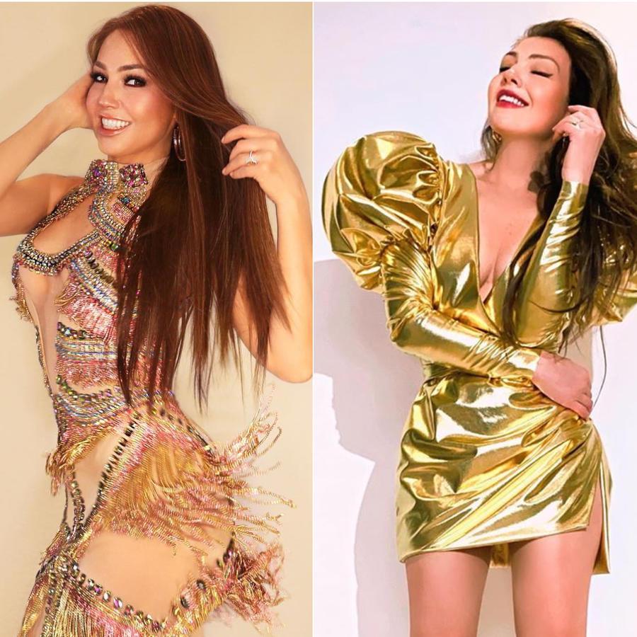 Thalía vestidos dorados