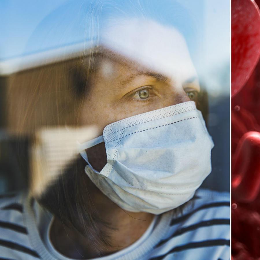 Mujer en cuarentena y glóbulos
