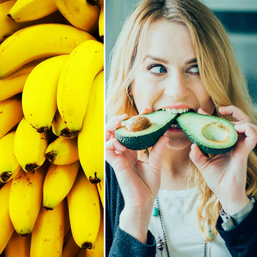 Bananas, aguacate y salmón