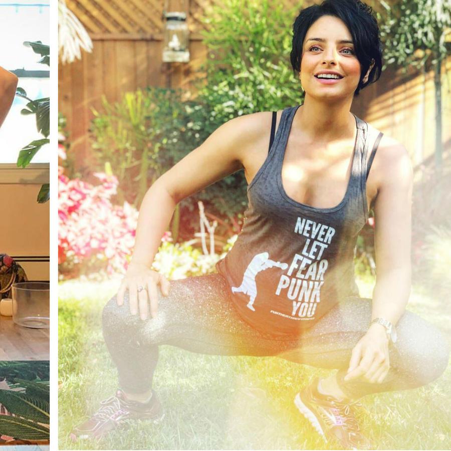 Ashley Graham y Aislinn Derbez haciendo ejercicio embarazadas