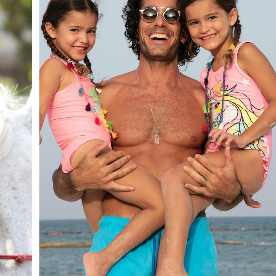 Aaron Díaz con sus hijas y Alaïa montando