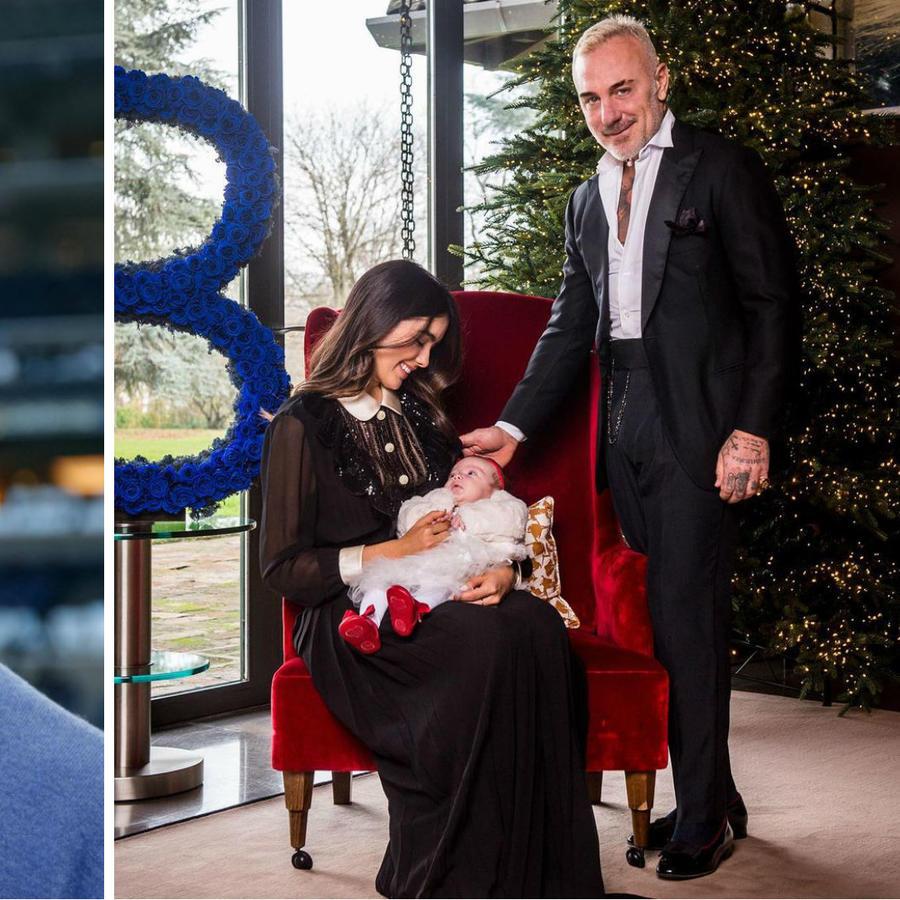 Peyton Manning y Gianluca Vacchi con su hija y su esposa