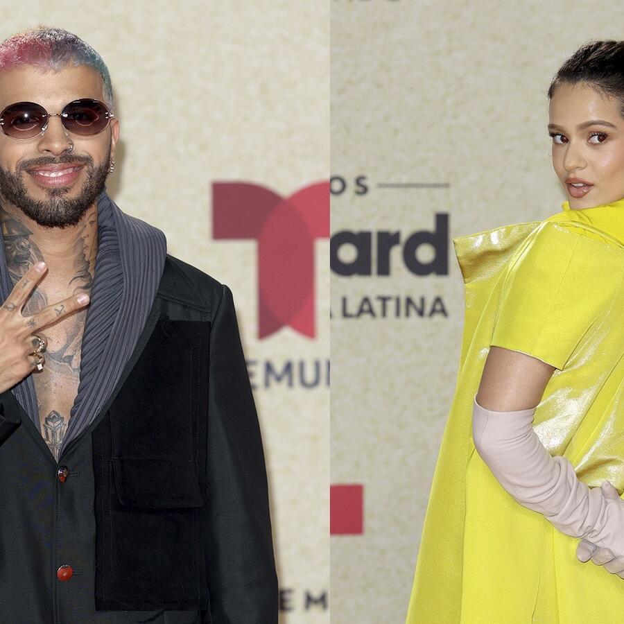 Rosalía y Rauw Alejandro, Premios Billboard 2021, alfombra roja.