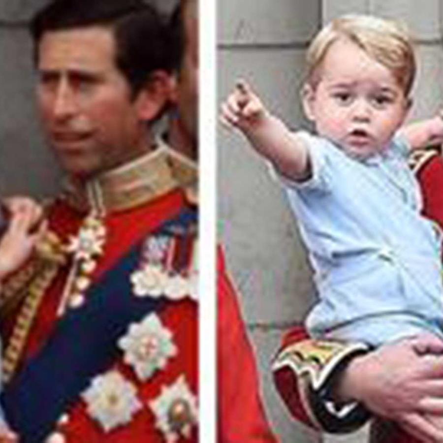 A la izquierda el príncipe Carlos con su hijo William en brazos en 1984, a la derecha el príncipe William con su bebé George el 13 de junio del 2015