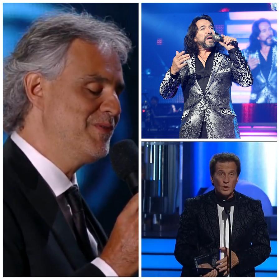 Los cantantes Andrea Bocelli, Emmanuel y Marco Antonio Solís