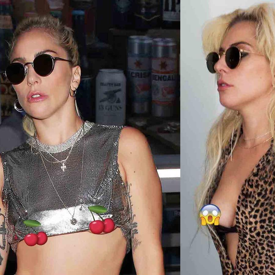Lady Gaga anda por la calle sin sostén y sufre accidente de vestuario