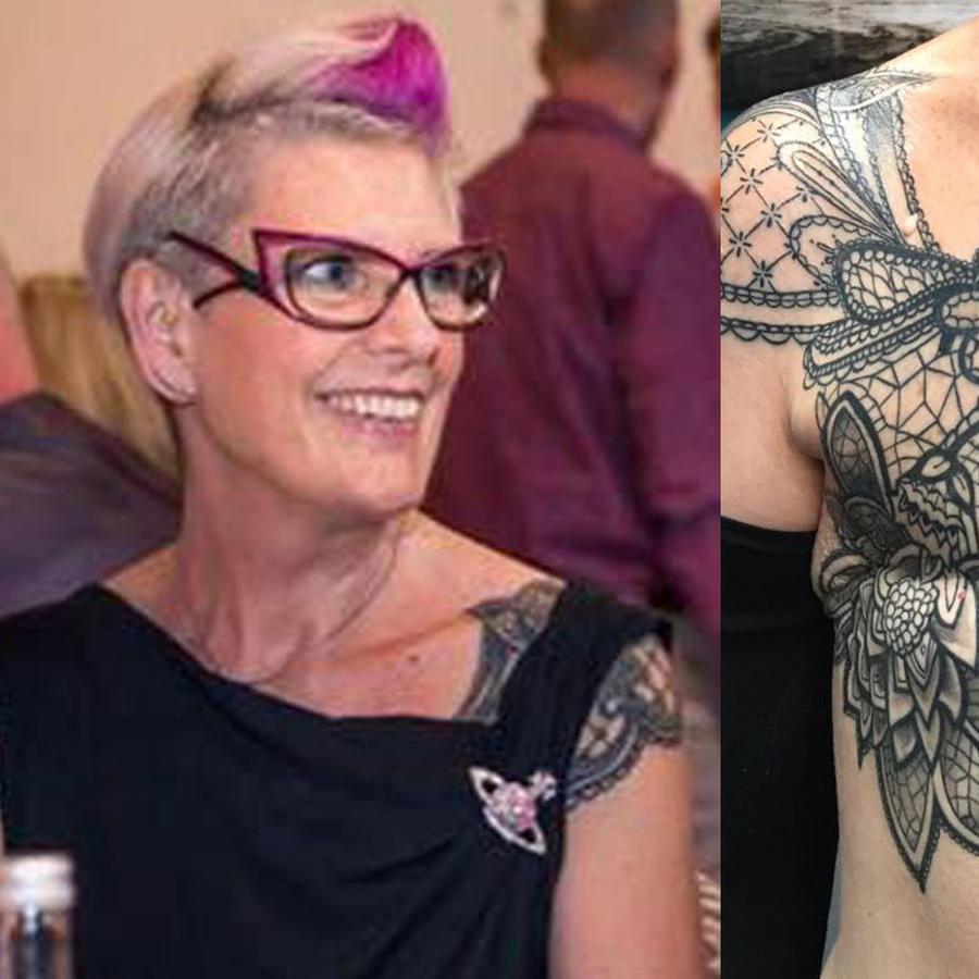 Sue Cook, retrato y tatuaje en el torso