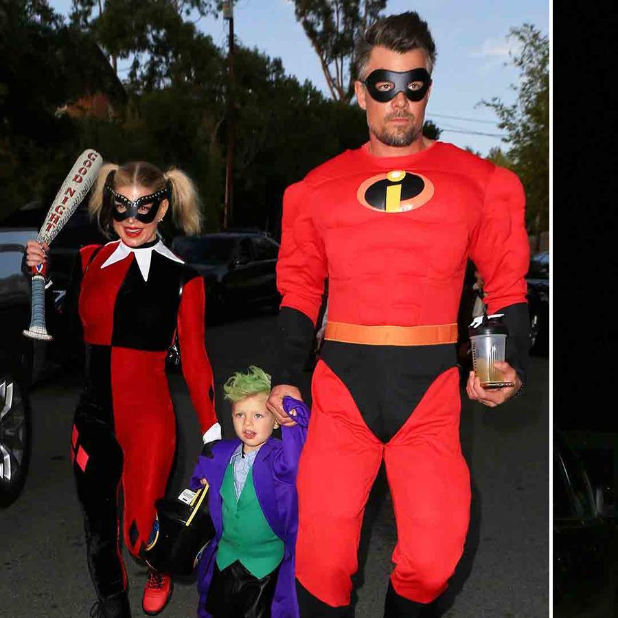 Fergie y su familia, Orlando Bloom y su hijo haciendo Trick or Treat en Halloween 2016