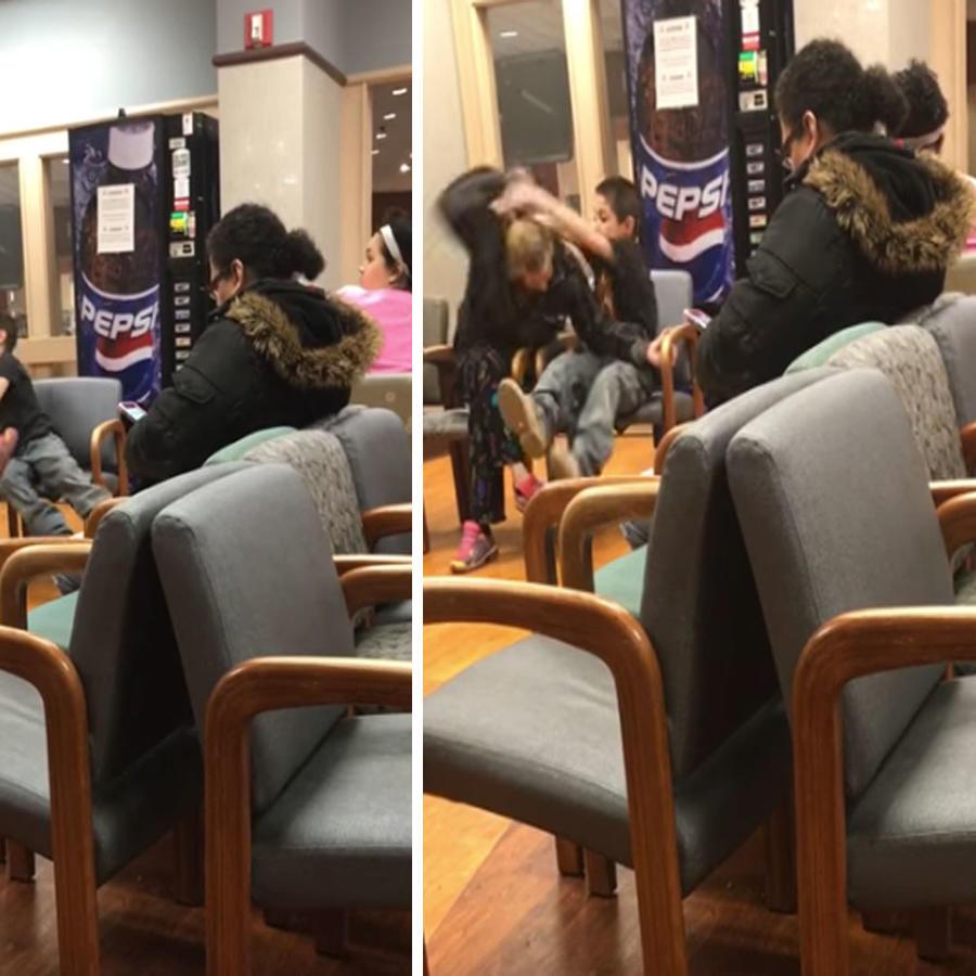 Un niño golpea y tira del pelo a su madre en la sala de un consultorio (VIDEO)