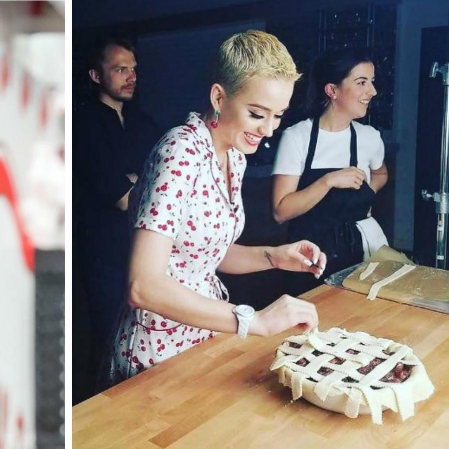 Katy Perry vendiendo pies de cereza en Nueva York