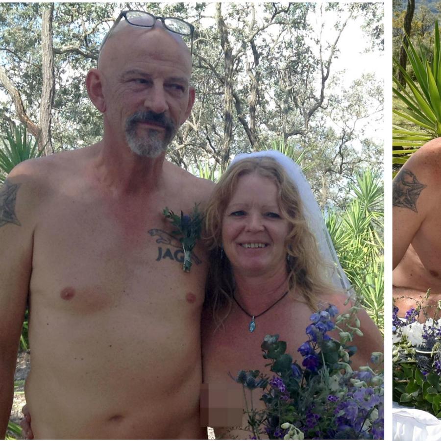 Collage pareja desnuda en su boda