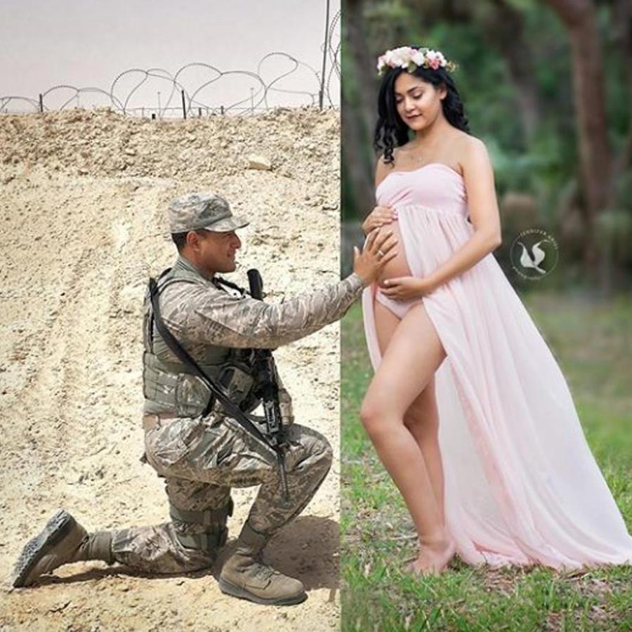 Soldado tocando la panza de su esposa embarazada
