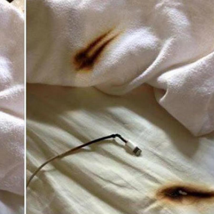 Sábanas quemadas por un cargador de celular
