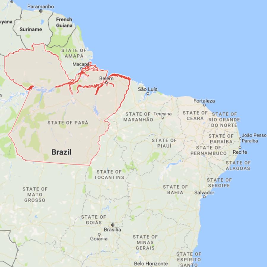 Mapa del estado de Para, en Brasil