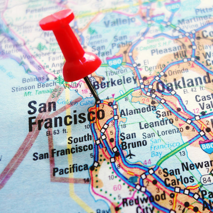 Mapa de EEUU indicando San Francisco