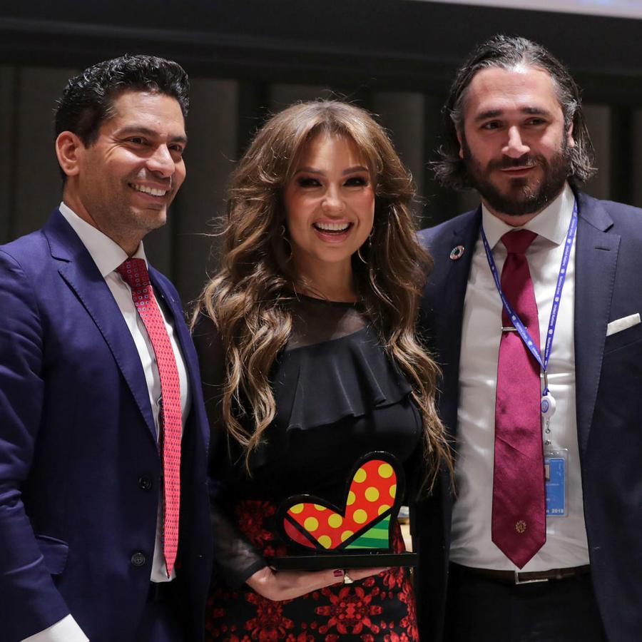 Thalía en las oficinas de la ONU