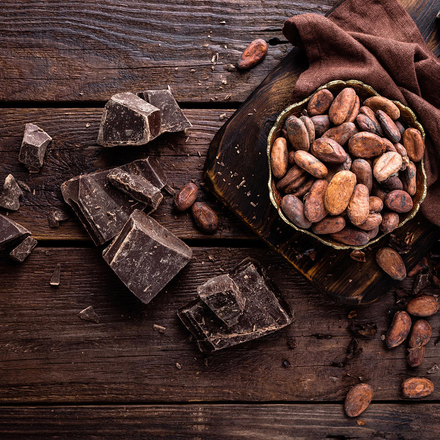 Cocoa beans and chocolate.