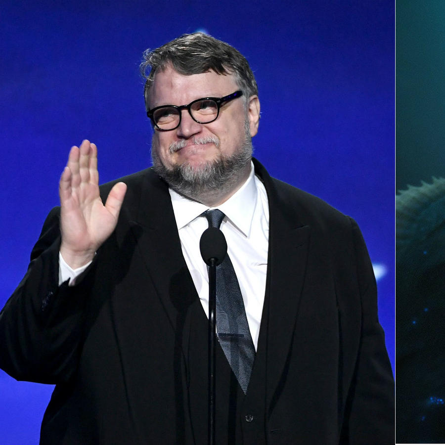 Guillermo del Toro junto a una escena de The Shape of Water.