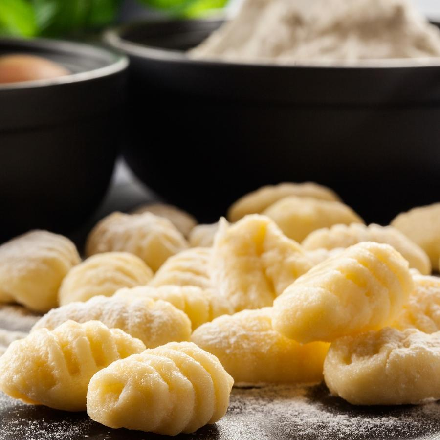 Homemade gnocchi on a plate.