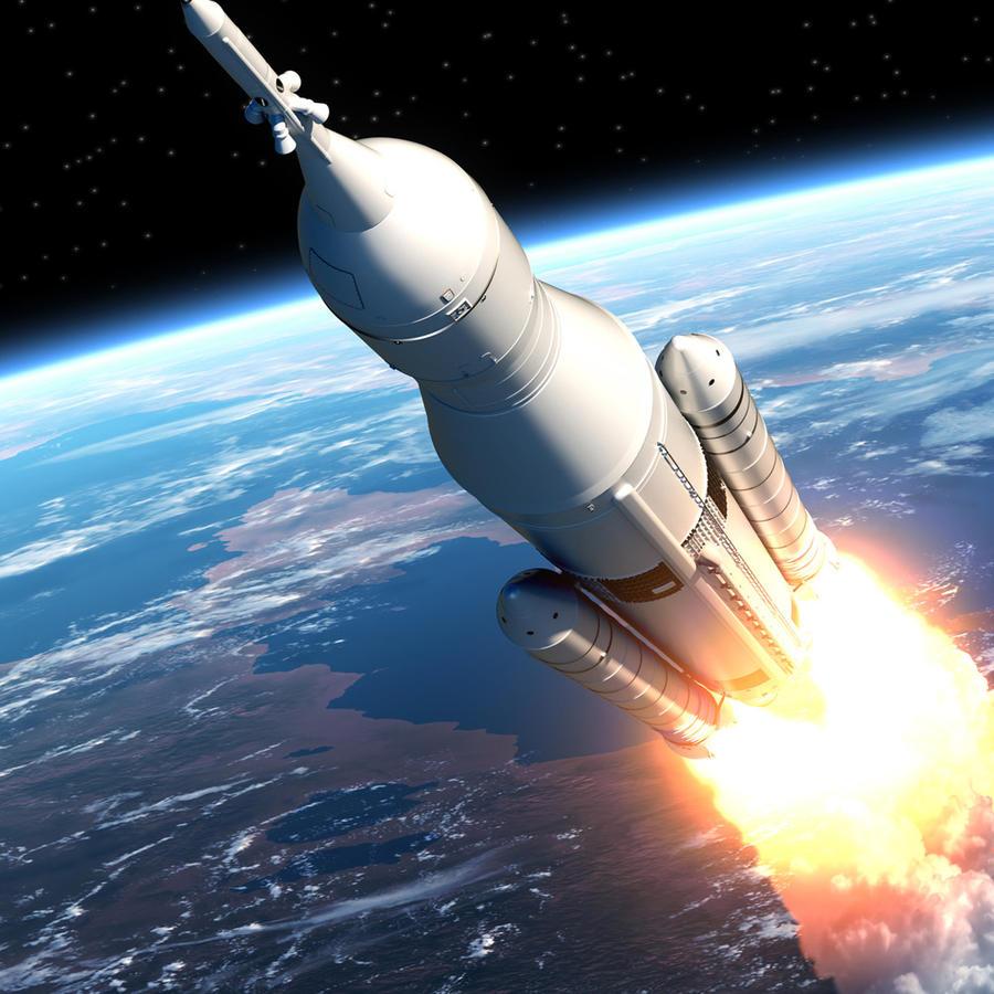 Nave espacial alejándose de la Tierra