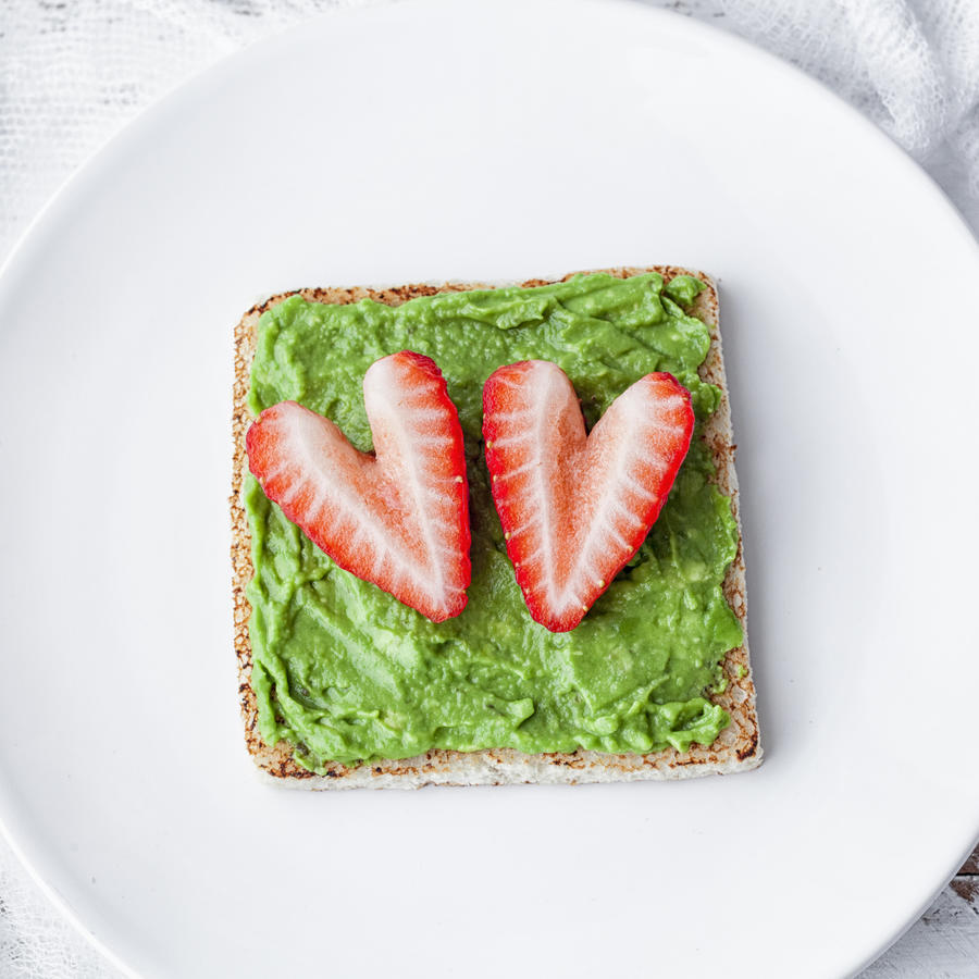 Avocado toast with strawberries