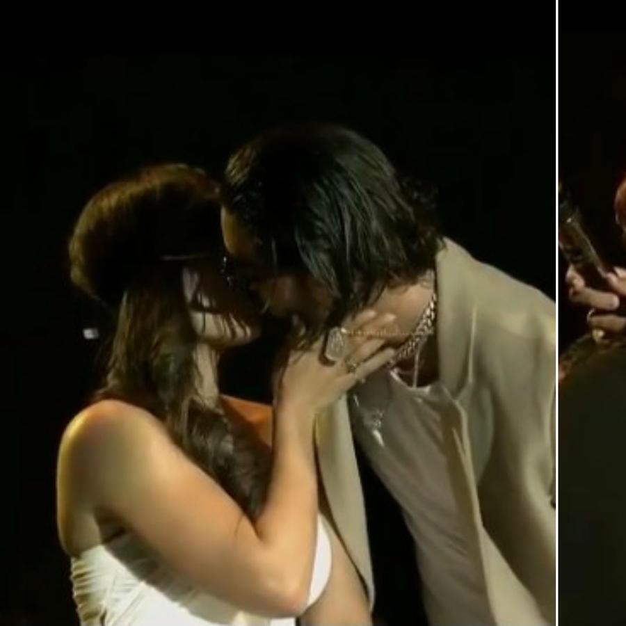 Maluma y Romeo Santos besando a sus fans