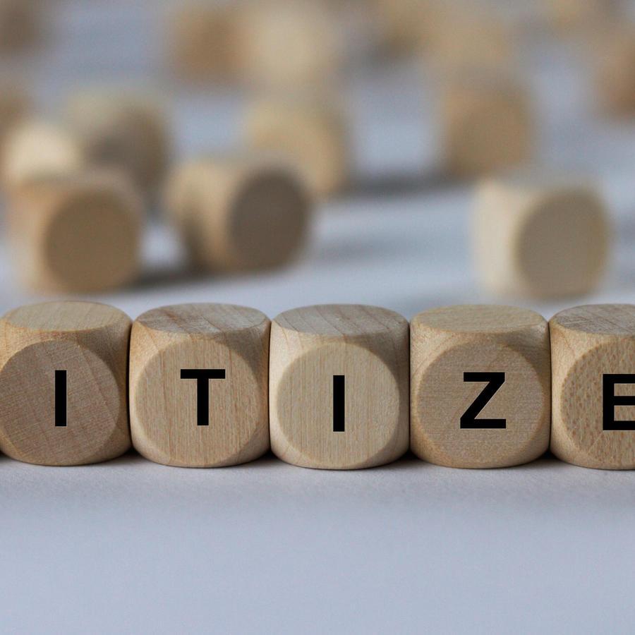 """Palabra """"Citizen"""" formada con bloques"""