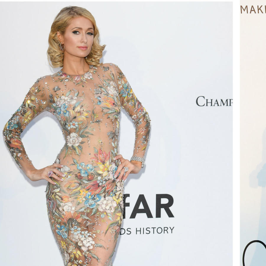 Collage Paris Hilton y Sara Sampaio en la gala amfAR 2018