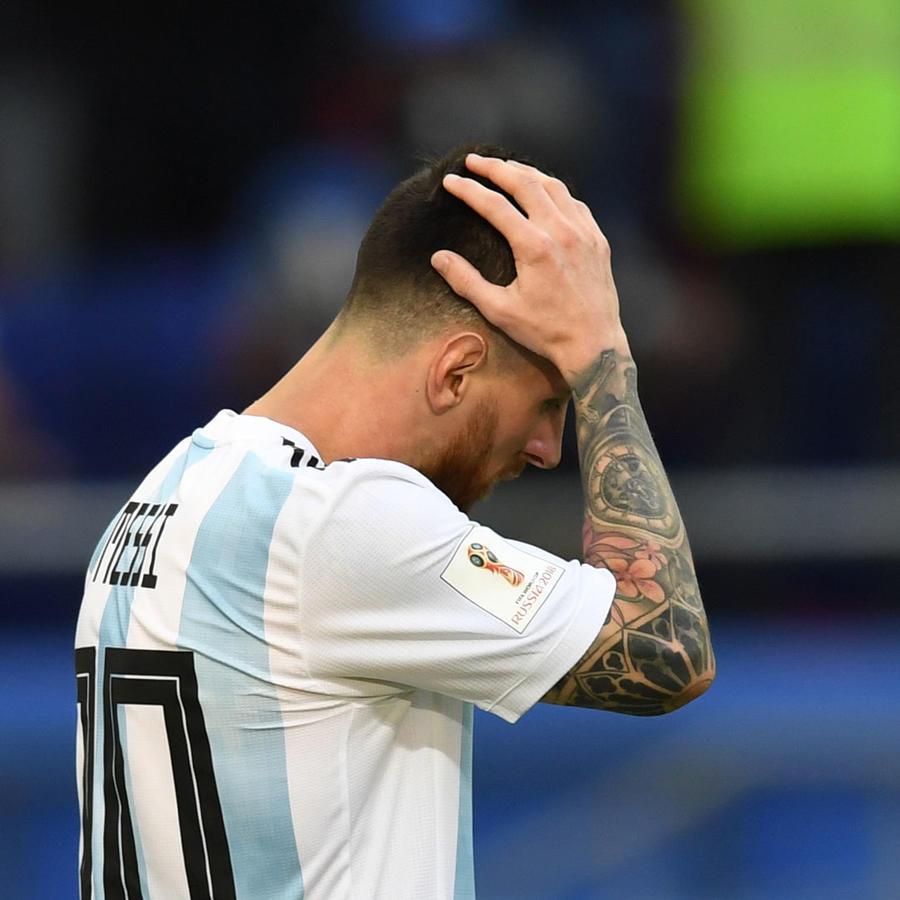 Lionel Messi de Argentina, durante el partido contra Francia