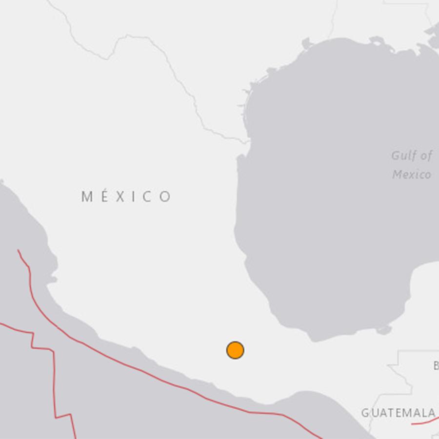 Captura de pantalla de la localización del epicentro del sismo en México el jueves 19 de julio de 2018