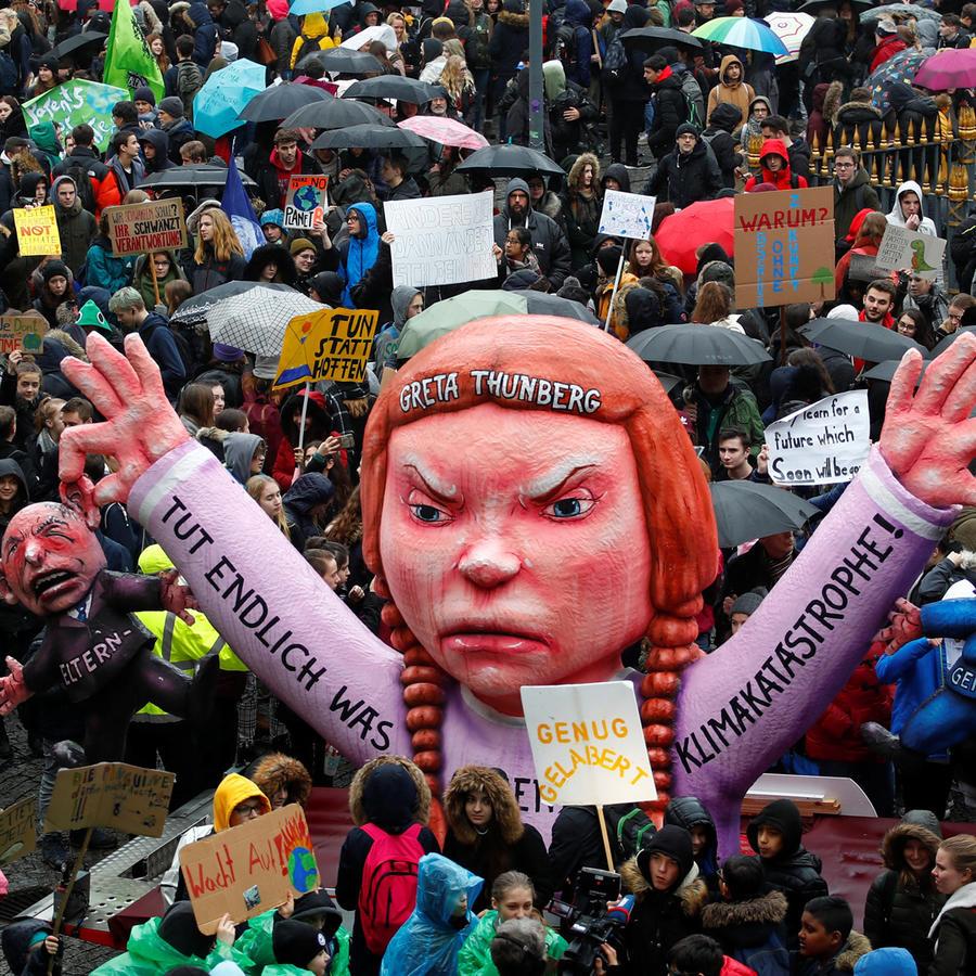 Manifestación de jóvenes contra el cambio climático en Duesseldorf, Alemania