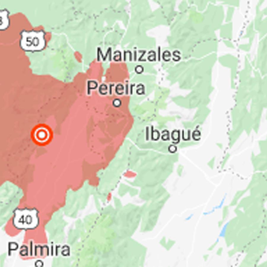 Mapa de sismo en Colombia al sur de Medellín