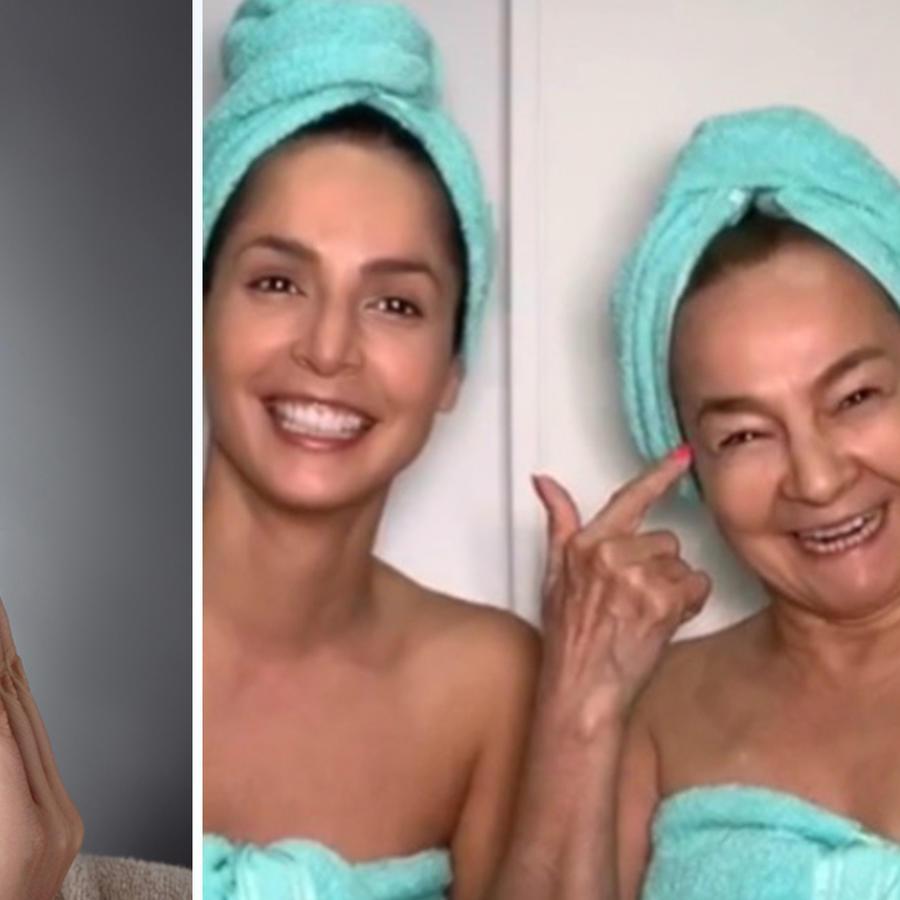 Limpieza facial, modelo, Carmen Villalobos y mamá