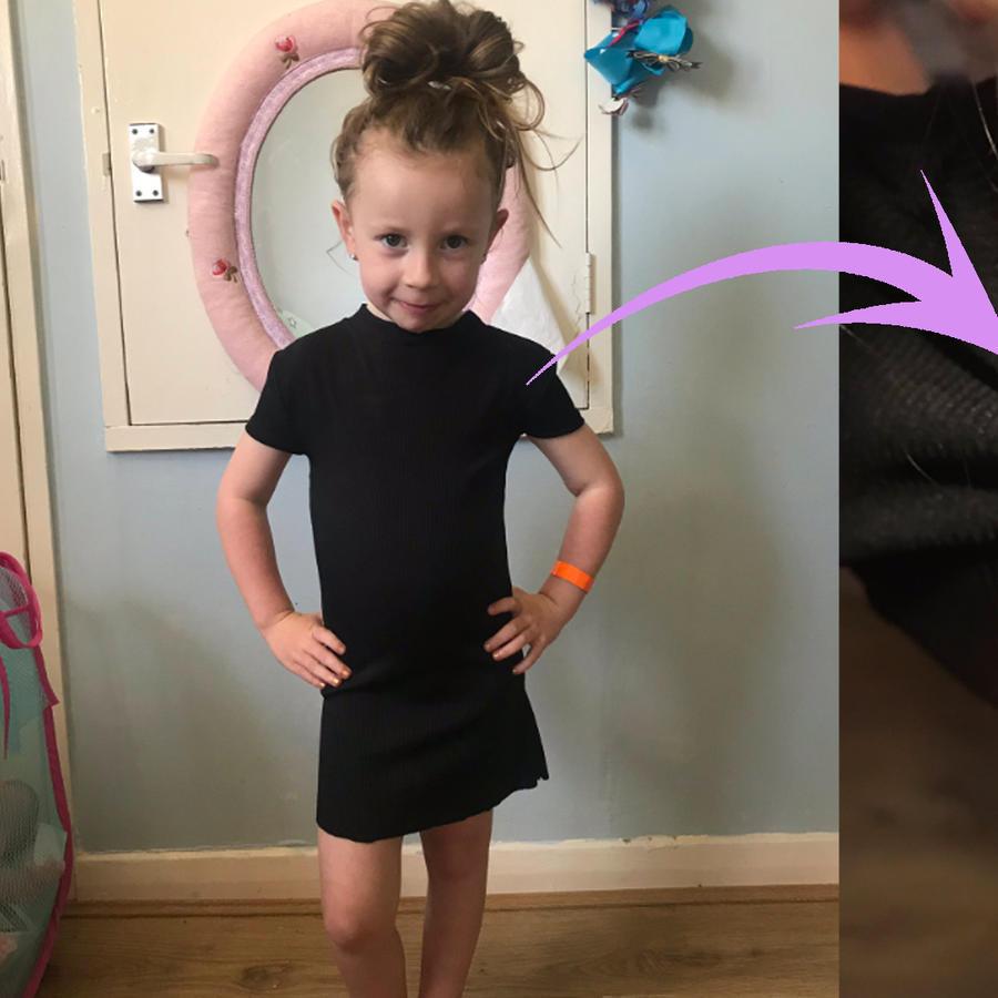 Niña con vestido negro