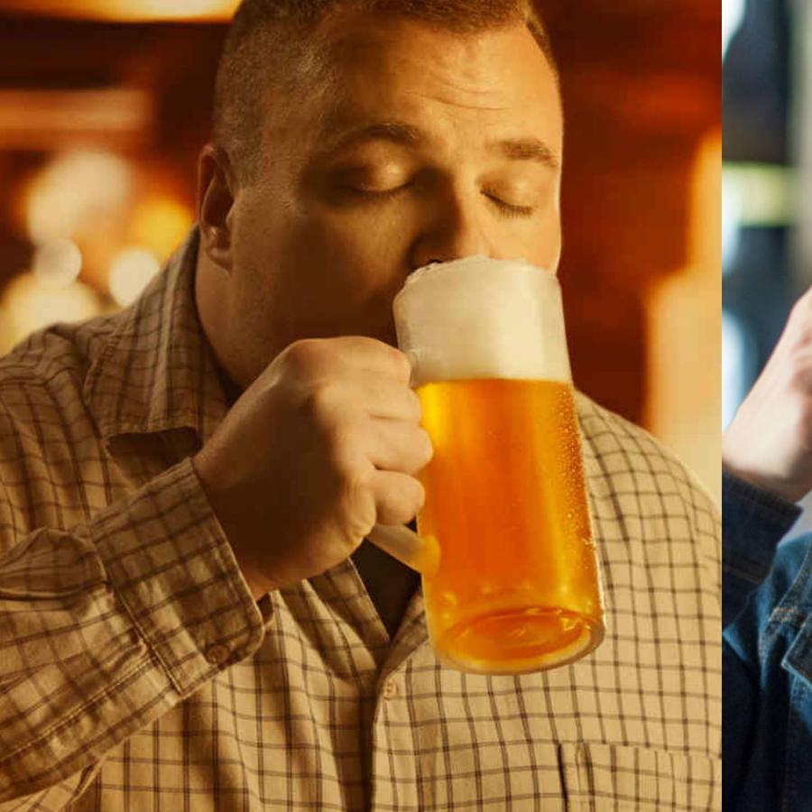 Hombre gordo y mujer bebiendo cerveza
