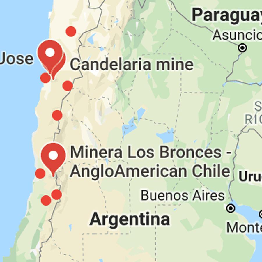 Mapa de mina San José en Chile