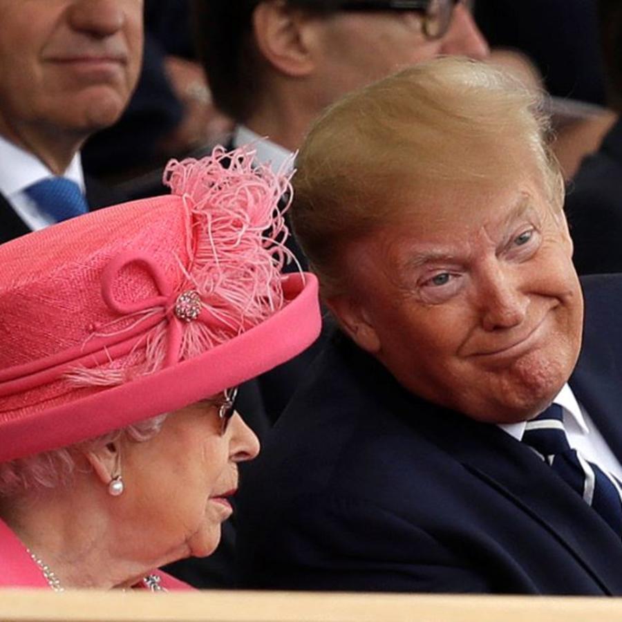 La reina Isabel II y el presidente Donald Trump en un evento para conmemorar el 75 aniversario del Día D en Portsmouth, Inglaterra, el miércoles 5 de junio de 2019.