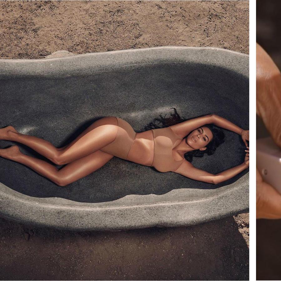 Kim Kardashian aplicándose body make up