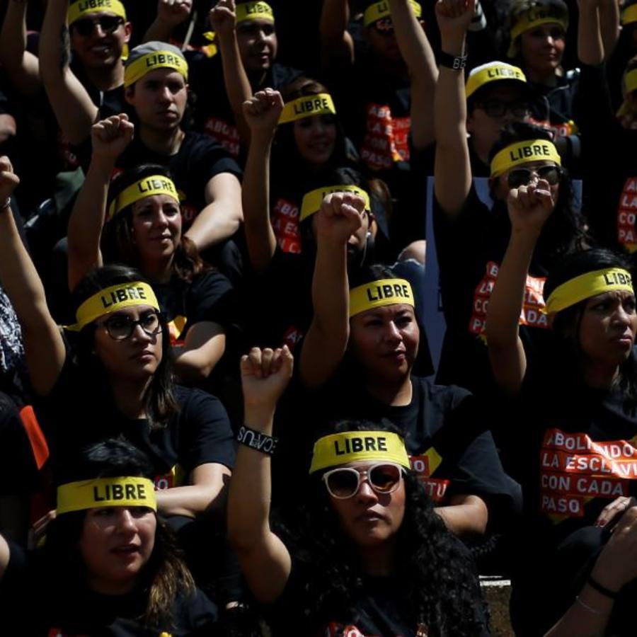 Una protesta contra la trata de personas y la esclavitud en la Ciudad de México en 2017.