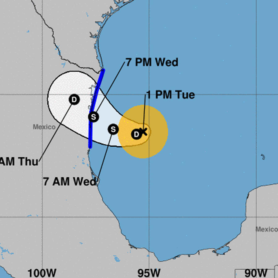 Mapa de la posible trayectoria de la tormenta Fernando