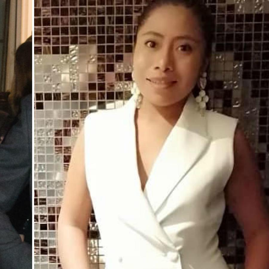 Meghan Markle y Yalitza Aparicio con vestido blanco