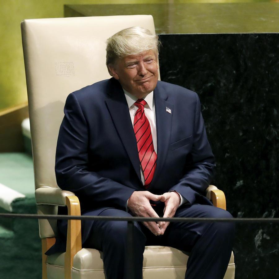 Trump, durante el aplauso de la Asamblea General tras su discurso de este martes en la ONU.