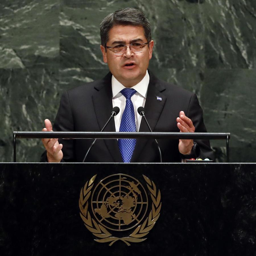 Imagen del presidente hondureño, Juan Orlando Hernández Alvarado, el 25 de septiembre de 2019 en la Asamblea General de la Organización de las Naciones Unidas.