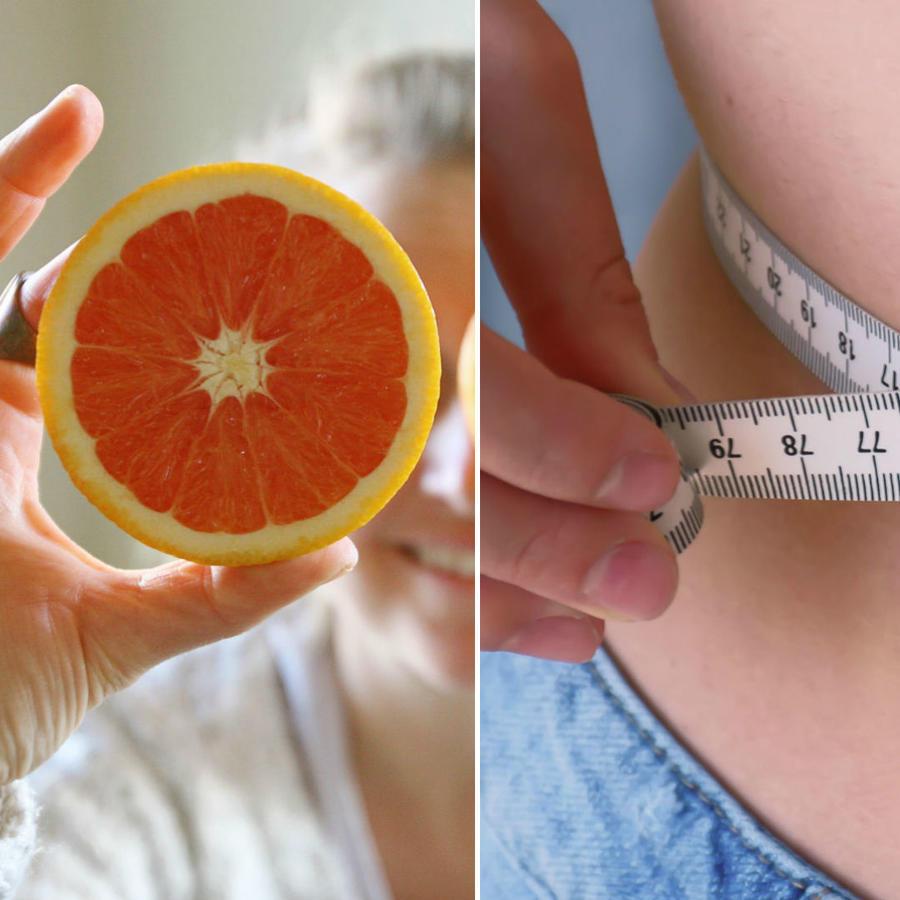 Mujer midiendo su cintura