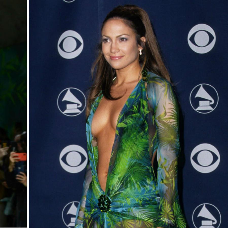 Jennifer Lopez usando vestido verde de Versace