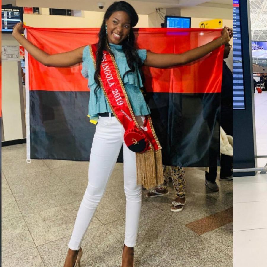 Salett Miguel, Miss Angola, Mia Rkman, Miss Croacia, posando con sus banderas, Miss Universo 2019