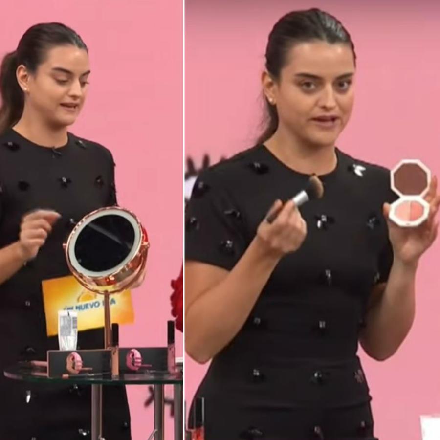 Alix Aspe probando maquillaje de las famosas